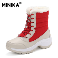 Minika Women Snow Boots Thick Fur Cotton Plush Shoes Female Winter Warm Ankle Boots Thick Bottom