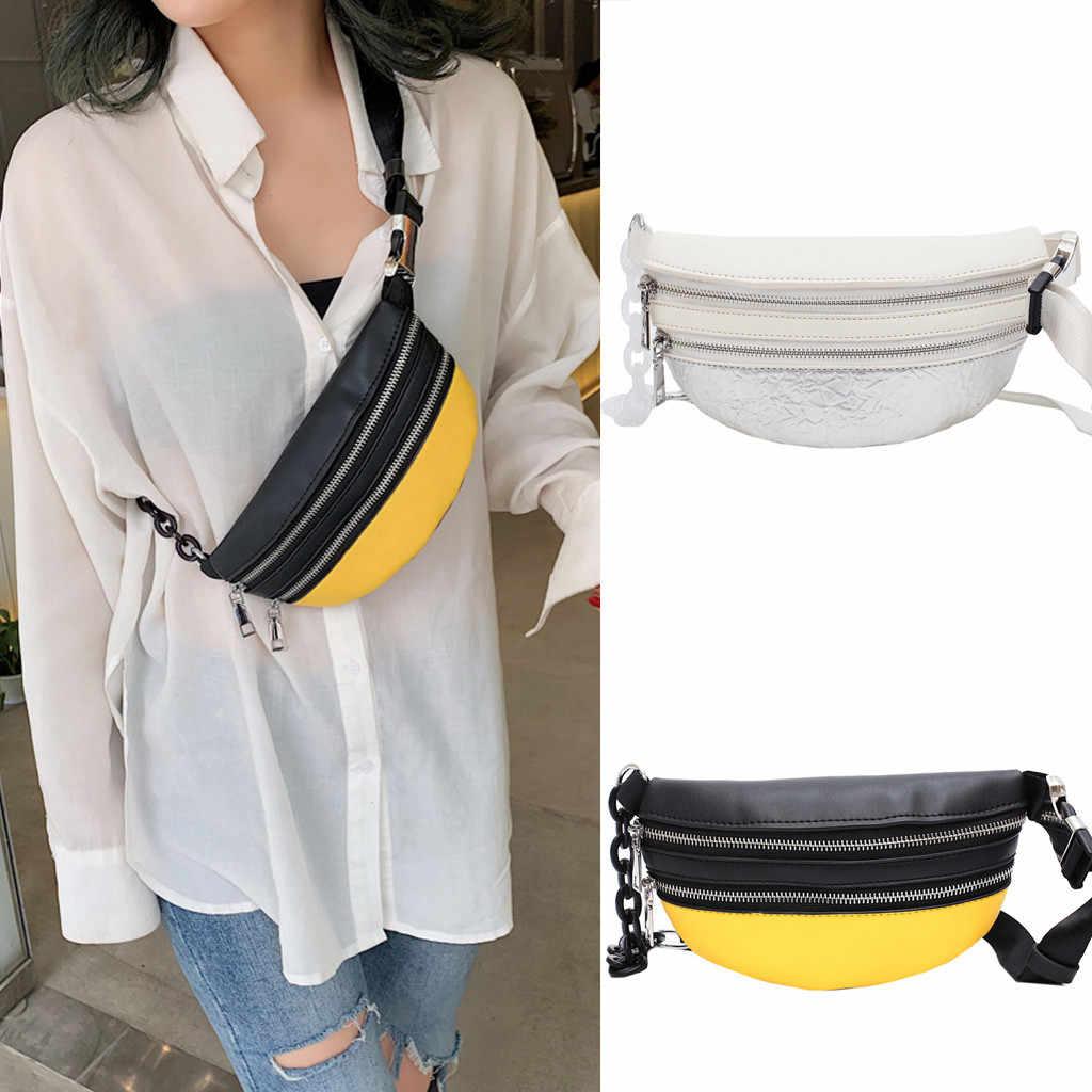 混合色ファッション女性革バッグチェーンメッセンジャークロスボディバッグ胸バッグ 2019