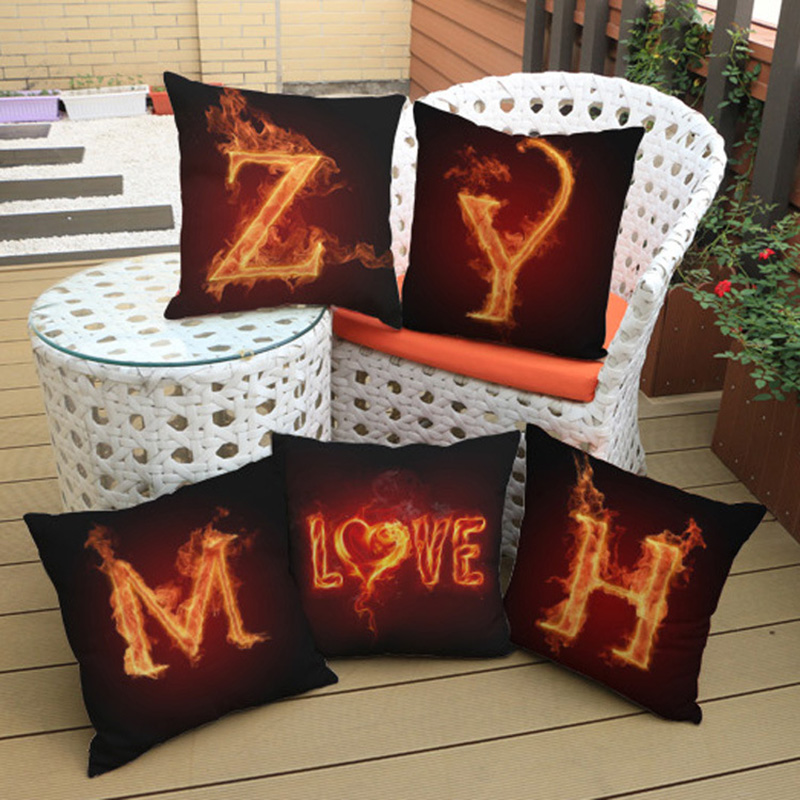 Creative Golden Flame Letter Cotton Linen Pillowcase Home Hotel Office Decoration Car Pub Sofa Bed Pillow Cushion Cover 45*45cm