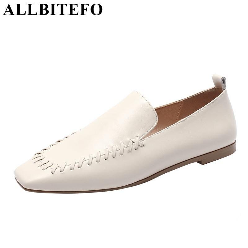 Femmes Mode Bout Véritable Ballerines Flattie Femme Naturel Talon Printemps Beige Chaussures Cuir Pour Allbitefo Mocassins Plat Carré noir Doux Plats 7qC87w