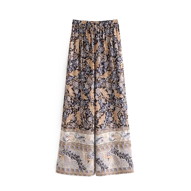 GYPSY Boho Chic Summer Vintage Floral Print   Wide     Leg     Pants   Women Fashion Elastic Waist Loose Beach Trousers Pantalones Mujer