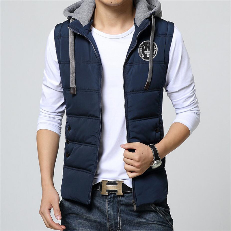 2019 New Vest Men Winter Sleeveless Jackets Casual Solid Thick Warm Vests Men Hooded Coats Male Cotton-Padded Waistcoat Jackets