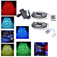 2x 5M SMD 5050 300LEDs RGB White LED Strip Light 12V Power Supply