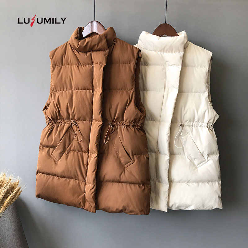 Lusumily Winter Vest Chalecos Para Mujer Winter Jacket Women Long Vests New Korean Stand-up Collar Cotton Waistcoat Gilet Female