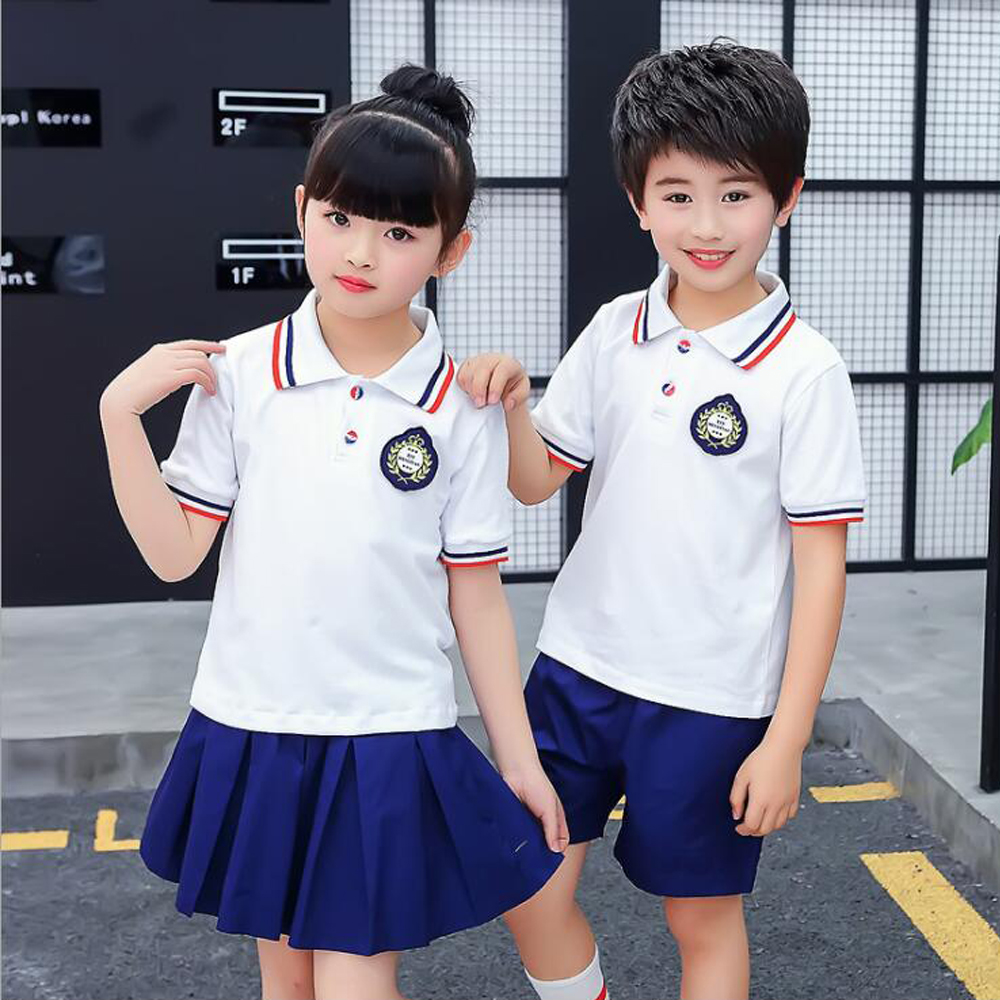 Children Japanese Korean School Uniform for Girls Boys White Shirt Tops Navy Skirt Shorts Kid Student Summer Clothes Outfits spring outfits for kids