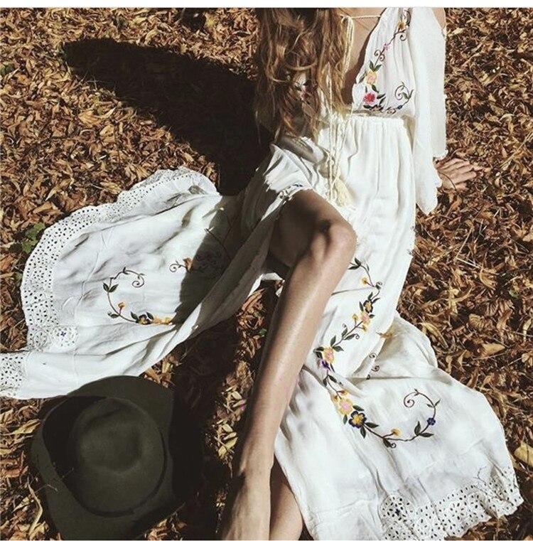 Boho Piste De Blanc Sexy cou Party Élégant Lâche Maxi Femmes Robe Coton Robes V Gamme Broderie Bohème Haut Longue Beach Vintage FqO50v