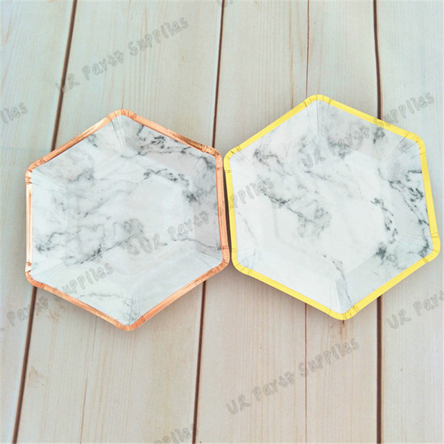 40pcs Marble Paper Plates Gold Small Trimmed Hexagon Party Plates Dessert Dishes for Engagement Bridal Shower & 40pcs Marble Paper Plates Gold Small Trimmed Hexagon Party Plates ...