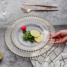 christmas Gold Rim glass pearl tray transparent glass beads plate fruit  cake  Western dish plate golden edge plate european fruit plate glass fruit plate are creative fruit cake pan basin ktv fruit plate shipping