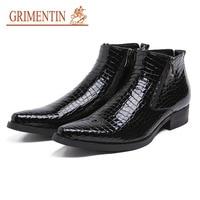 GRIMENTIN/2019 горячая распродажа Роскошные бизнес мужские ботинки пояса из натуральной кожи с молнией формальные свадебные туфли