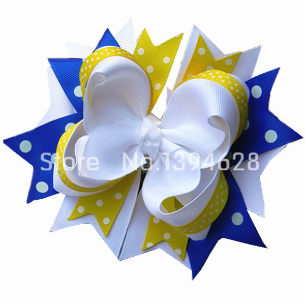 5 12 inches Blue, white, yellow boutique hair bow, girls, baby, toddler, hair accessory, stacked hair bows,