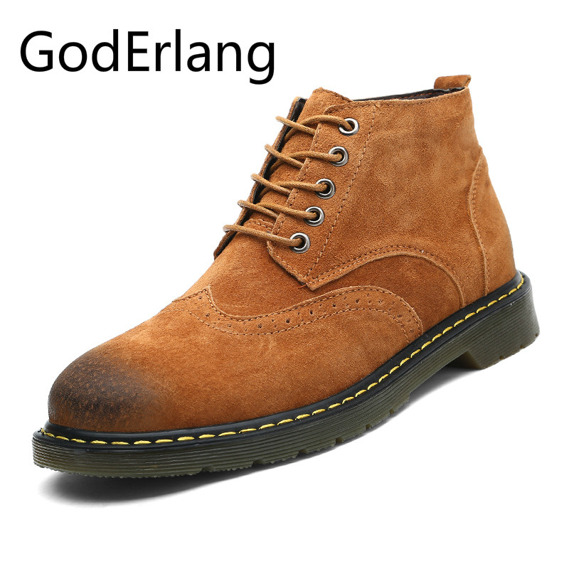 GodErlang Men Boots Vintage Style Men Casual Shoes Working Safety Boots Mens Shoes Genuine Leather Lace Up Plus Size 45 46 47 men s leather shoes vintage style casual shoes comfortable lace up flat shoes men footwears size 39 44 pa005m