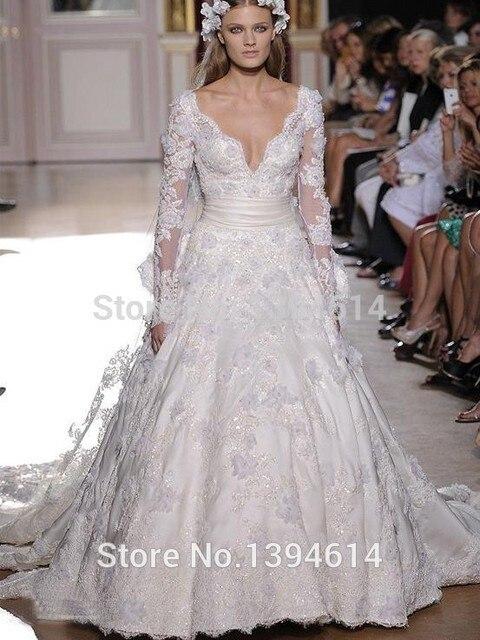 Zuhair Murad Lace Wedding Dresses V Neck A Line Long Sleeves Detachable Chapel Train White