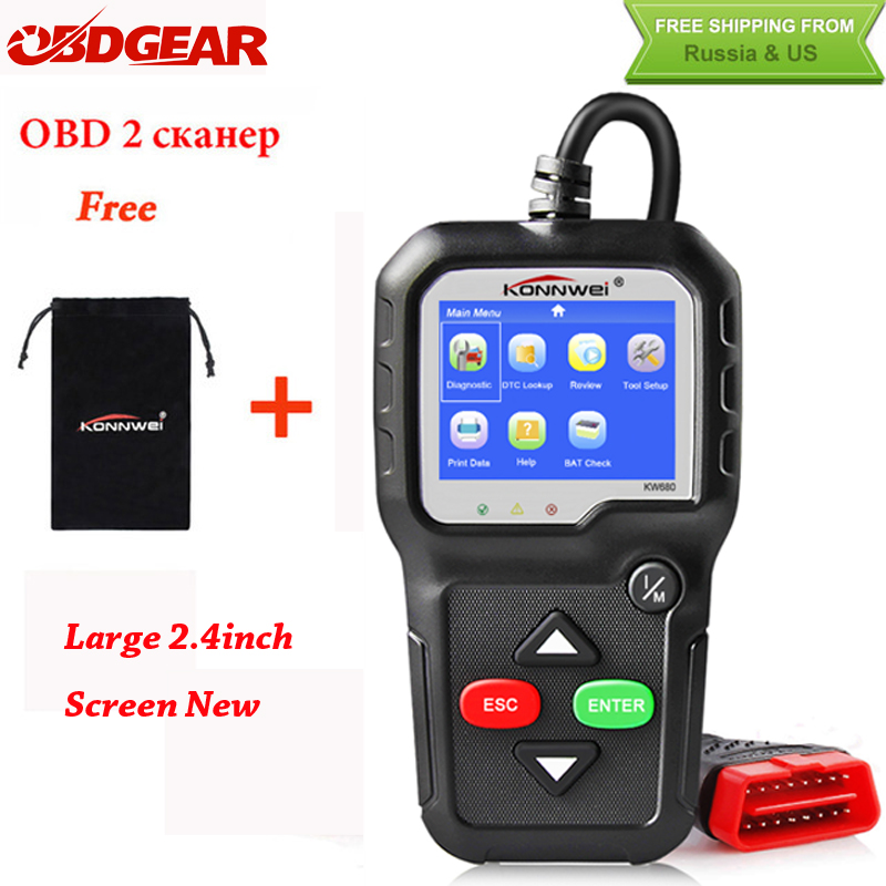 2018 Beste OBD2 Auto Diagnostische Scanner KONNWEI KW680 Volledige OBD2 Functie OBD2 Autoscanner Multi-taal OBD2 Automotive Scanner