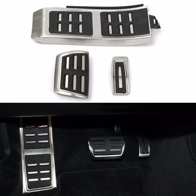 3 Pcs/Set Sport Foot Rest Fuel Brake Pedal Plate Cover Set For AUDI A4 S4 A5 A6 Q5 S5 A7