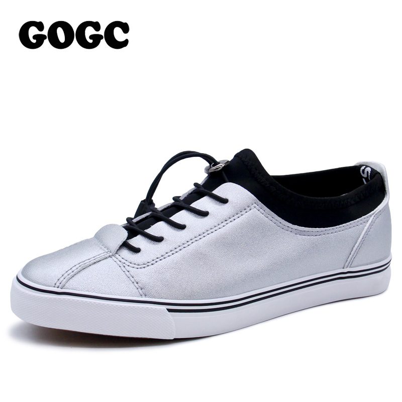 GOGC 2018 Women Flat Shoes Sneakers Breathable Ladies Leather Shoes Autunm Creepers Casual Slip on Women Shoes Slipony Women New 2017 new women shoes fashion stud canvas shoes women causal shoes comfortable slip on shoes for women slipony ag11