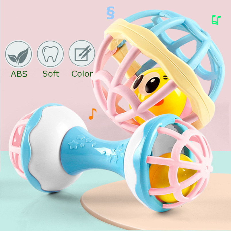 Ball Rattles Teether Molar Baby Toy ABS Plastic Hand Bell Toddlers Sensory Training Toys For 0-12 Months Infant Hand Grab Ball