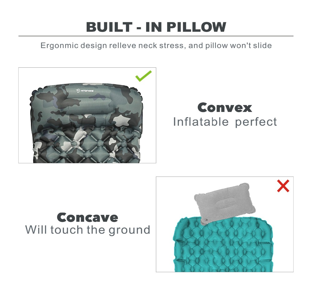 Almofada de dormir compacto acampamento mochila almofada
