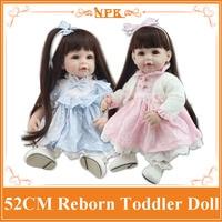Comercio al por mayor 52 cm 20 ''Muñeca Bebé Nacido Con Largo Pelo Pegado peluca Caliente Bienvenida Realista Muñecas de Niño Brinquedos De Bebe En cumpleaños