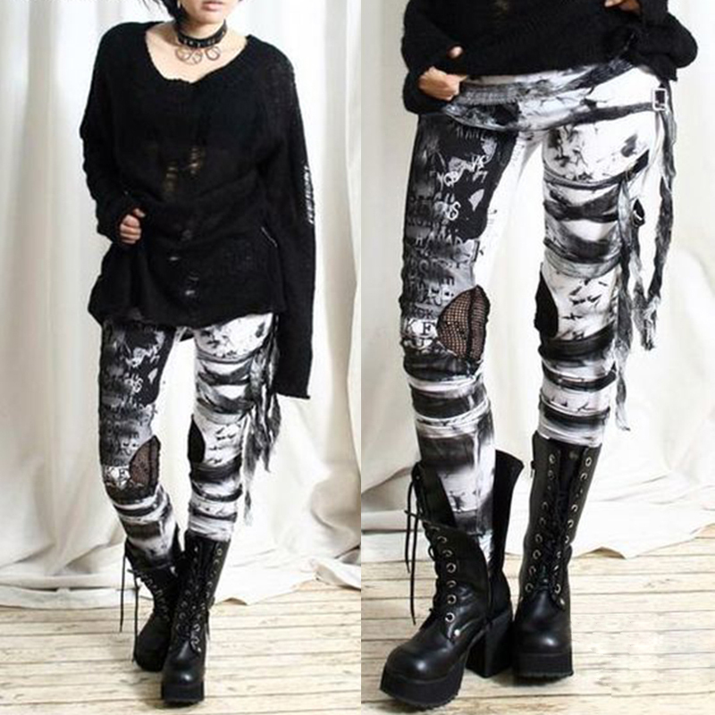 UIDEAZONE Mesh Gauze Stitching Hole Letter Printing Pants Tights Street Trend Pants Women Punk Dark Style Tight Pants