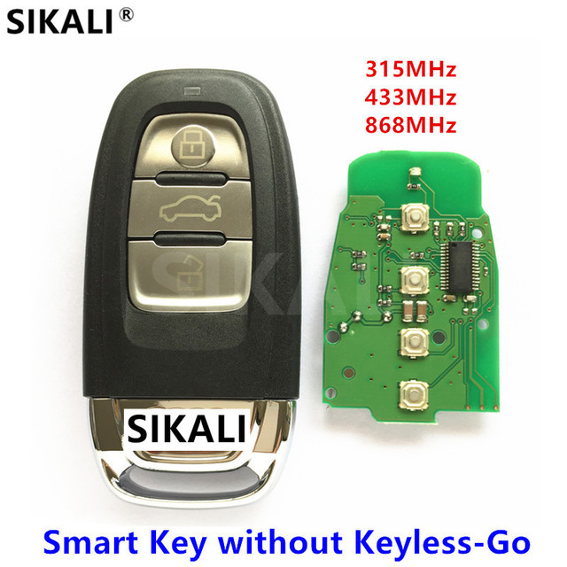 SIKALI Car Remote Key Fit for Audi 8T0 959 754 * / 8K0 959 754 * Smart Key for A4/S4/A5/S5/Q5 315MHz/433MHz/868MHz