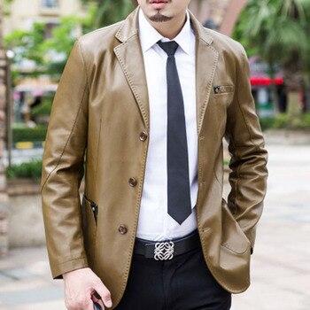 Männer Leder Anzug 2019 Frühling Und Herbst Blazer Männlichen Schaffell Anzug Tops Echtes Split Leder Dünne Jacke Schwarz Braun Mantel