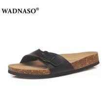 Wadnaso 플러스 크기 35 45 여름 코르크 슬리퍼 샌들 2019 새로운 남성 캐주얼 비치 더블 버클 인쇄 슬립 슬라이드 신발 플랫