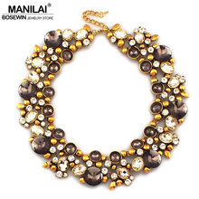 MANILAI Vintage Metal Rhinestones Chokers Fashion Crystal Bib Collar Statement Necklaces For Women Bijouterie Brand Jewelry(China)