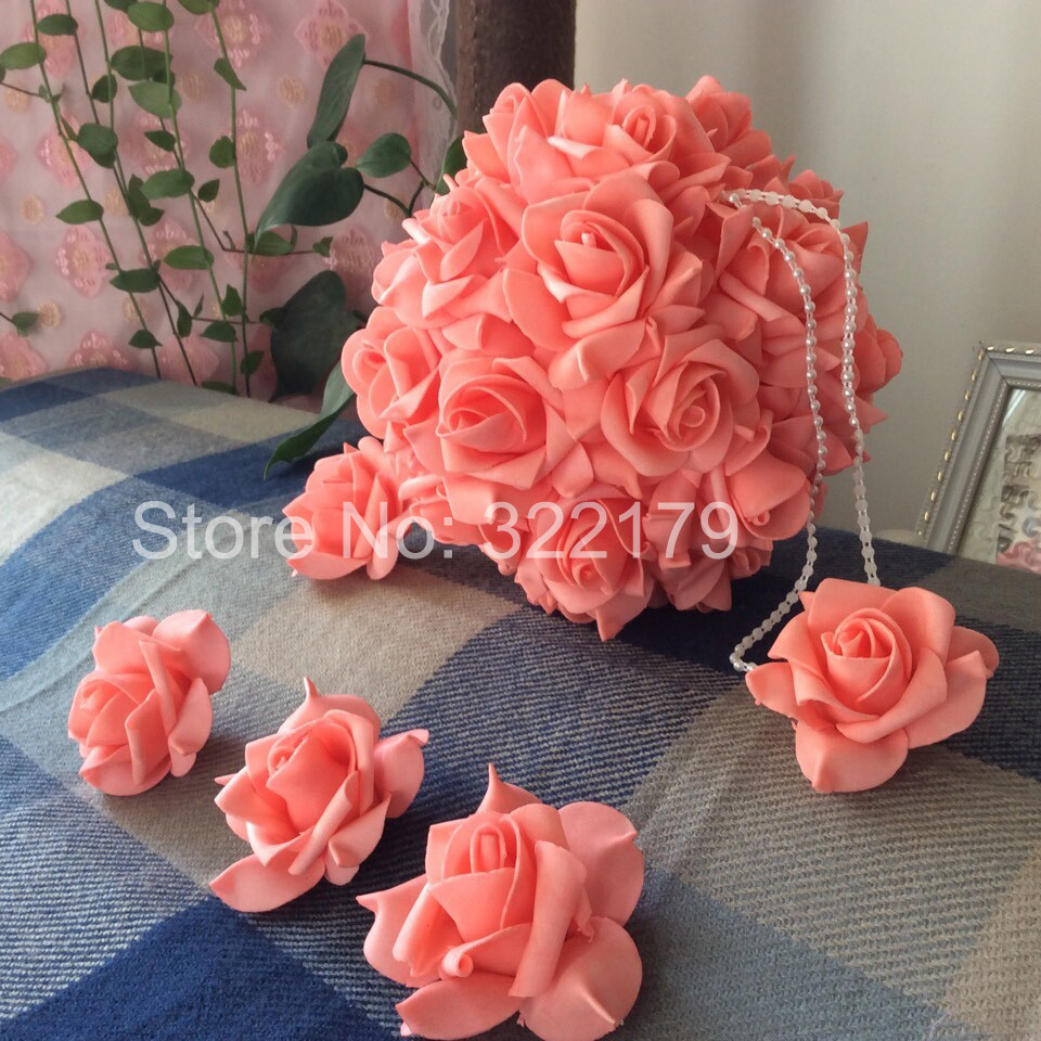 100 pcs coral wedding flowers foam roses for wedding decorations 100 pcs coral wedding flowers foam roses for wedding decorations coral kissing ball pomander flowers coral centerpieces in artificial dried flowers from junglespirit Images