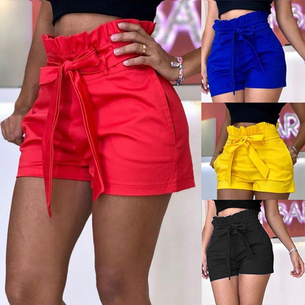 Plus Size 2019 Fashion Summer Beach Women Solid Color Ruffled High Waist Bandage Ladies Clothing Casual Loose   Shorts     Short   Pants