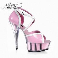 цены Cover Heel Crystal 15CM Sexy Super Flower High Heel Platforms Pole Dance Performance Star Ankle Strap Model Shoes Wedding Shoes