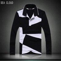 Sea Cloud male basic shirt plus size men's clothing male long-sleeve 2017 turn-down collar cotton M L XL XXL XXXXXL t-shirt