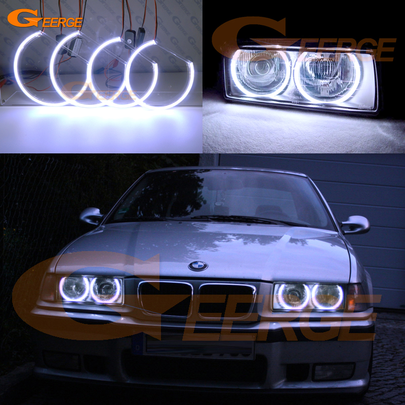 For BMW E36 318I 323I 325I 328I 1992-1998 Euro headlight Excellent Ultra bright illumination COB led angel eyes kit halo rings bmw 318 в москве