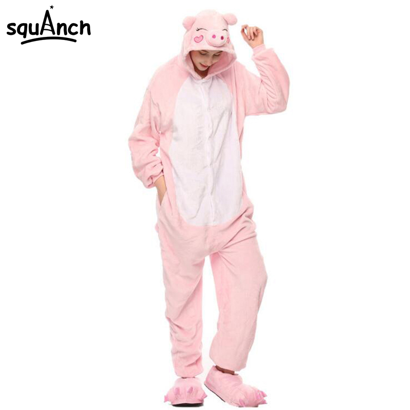Women Onesie Animal Lovely Pig Pajama Adult Party Jumpsuit Birthday Gift Winter Warm Sleepwear Girls Cartoon Pink Casual Suit