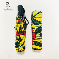 African Women Windproof UV Ankara Print Umbrellas Three Folding Automatic Sun Umbrella with Black Coating for Business Paraguas
