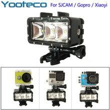 Para gopro acessórios luz subaquática de mergulho à prova d' água levou luz de vídeo da bateria & mount para gopro session 5 4 xiaomi yi sj4000