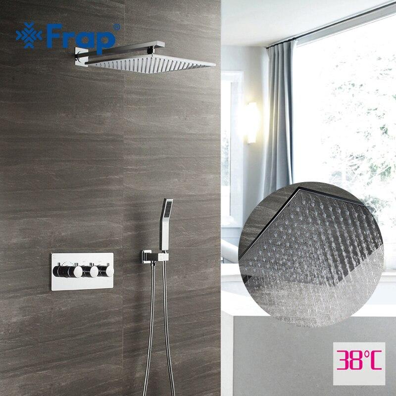 Frap grifo de ducha cromado montado en la pared juego de ducha baño oculto de latón mezclador de ducha masaje cabezas de ducha cascada