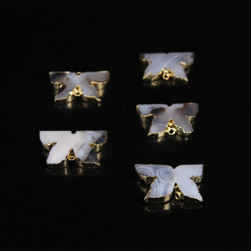 5pcs,White Landscape agates Faceted Slab Nugget Connector,Gold edged Natural Druzy Agate ...