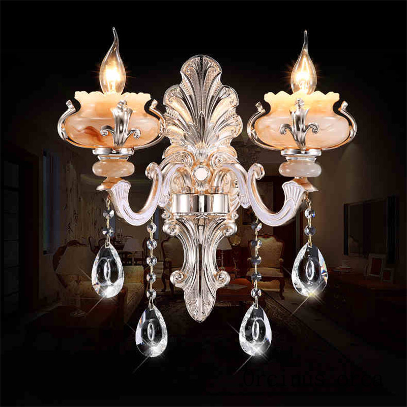 Simple European style bedroom bed room stairs crystal lamp TV background wall zinc alloy single double wall lamp candle european luxury crystal double head wall lamp bedroom living room tv background wall american retro wall lamp free shipping