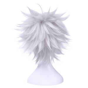 Image 3 - L email 가발 새로운 gintama gintoki 사카타 코스프레 가발 35 cm/13.8 인치 짧은 흰색 남성 합성 머리 페루 카 코스프레 가발