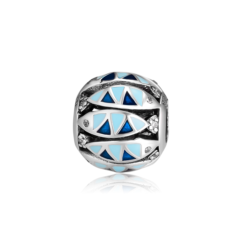Ckk 925 Sterling Silver Bead Oceanic Fish Charm Fits Pandora Bracelet Charms Diy Jewelry Makingaretes De Mujer,blue Enamel Relieving Rheumatism And Cold Charms