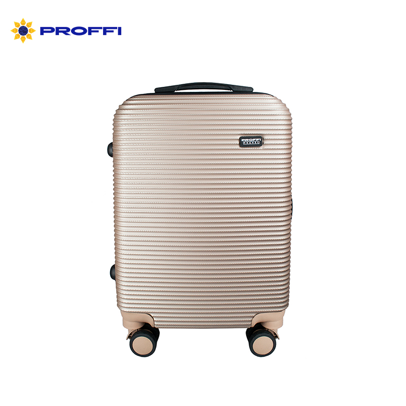Fashionable suitcase PROFFI TRAVEL PH8858beige S plastic beige with combination lock 4680477017914 on wheels