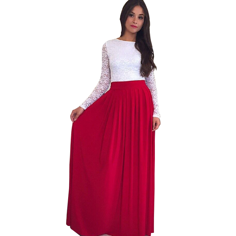 0b2d347c0344b5 New Autumn 2016 Lace Patchwork O neck Long Sleeve Party Women Dresses Floor  Length Big Swing Casual Maxi Dress WYZ7151-in Dresses from Women's Clothing  & ...