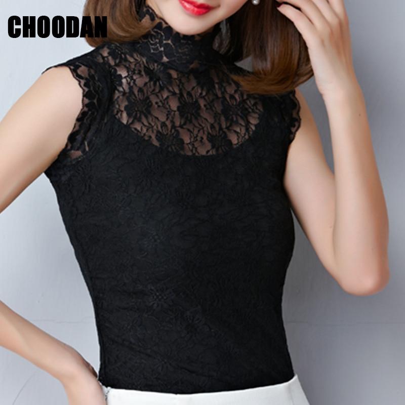 De Blusa Camisas white 2018 Mujer Moda Black Alto Encaje Elegante Verano Piezas Ropa Camisa Conjunto Mangas negro Dos Blanco Cuello Trasparent Sin rrdxw1