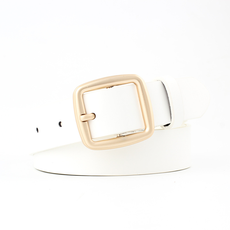 105X2 8Cm Leisure Female Metal Square Pin Buckle Belt Designer Brand Pu Leather Belts Trend White Wide Ceinture Waistband Woman in Women 39 s Belts from Apparel Accessories