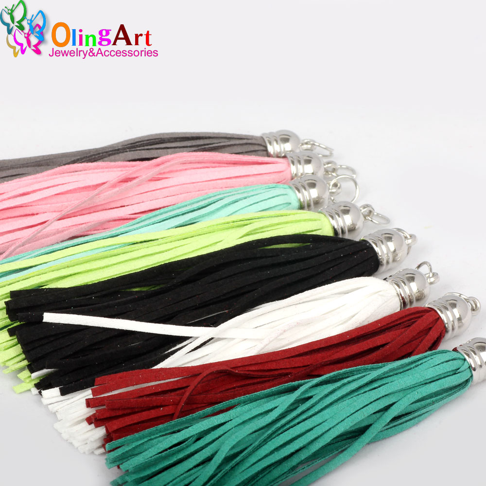 OlingArt 10CM 8pcs Suede Tassel For Keychain Cellphone Straps Jewelry making Charms Leather Tassels With DIY Accessories 2017 tassel design keychain
