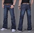 Alta calidad nuevo invierno masculina casual de negocios flare jeans hombres sueltos mediados de pantalones de corte de arranque de alta calidad