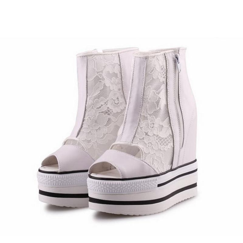 Summer Platform Wedge High heels Women Shoes Woman Casual Lace  Breathable Zapatillas Deportivas Zapatos Mujer Tenis Feminino