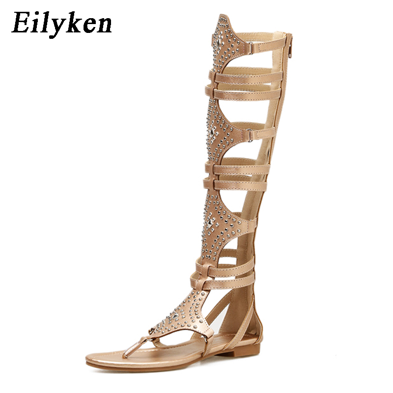 c666f9cbd96dcd Eilyken 2018 New Golden Black Casual Women Gladiator Sandals PU Leather  Open Toe Knee High Rivet Zip Leisure Sandals Boots Flat