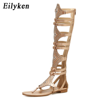 Eilyken 2019 New Golden Black Casual Women Gladiator Sandals PU Leather Open Toe Knee High Rivet Zip Leisure Sandals Boots Flat