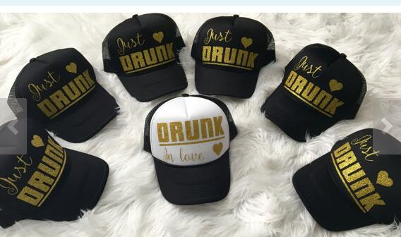 b9ff5381 custom bridesmaid glitter Drunk in love trucker hats caps Bachelorette  wedding favor gifts bridal shower party decorations-in Party DIY  Decorations from ...